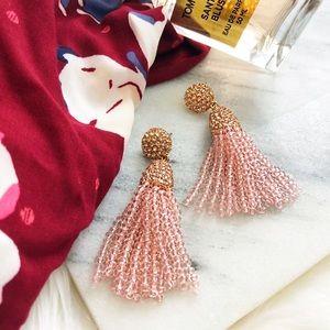 Light Pink Beaded Tassel Statement Earrings